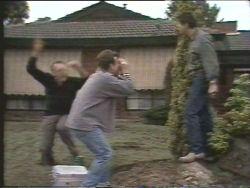 Harold Bishop, Michael Cross, Joe Mangel in Neighbours Episode 1095