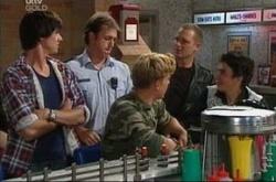 Stuart Parker, Boyd Hoyland, Stingray Timmins, Max Hoyland, Jack Scully in Neighbours Episode 4513