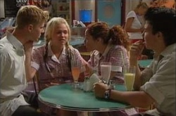 Boyd Hoyland, Stingray Timmins, Sky Mangel, Serena Bishop in Neighbours Episode 4525