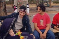 Maddie Lee, Stingray Timmins, Angelo Lombardi in Neighbours Episode 4535