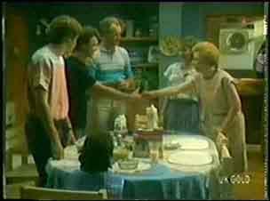 Scott Robinson, Paul Robinson, Jim Robinson, Helen Daniels, Eileen Clarke in Neighbours Episode 0023