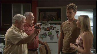 Lou Carpenter, Harold Bishop, Ned Parker, Janae Timmins in Neighbours Episode 5375
