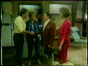 Shane Ramsay, Daphne Clarke, Harry Henderson, Cleo Jones in Neighbours Episode 0060