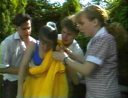 Rick Alessi, Julie Robinson, Michael Martin, Debbie Martin in Neighbours Episode 1852