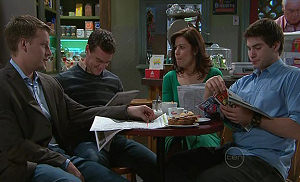 Oliver Barnes, Paul Robinson, Rebecca Napier, Declan Napier in Neighbours Episode 5326
