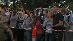 Paul Robinson, Rebecca Napier, Susan Kennedy, Rachel Kinski, Janae Timmins, Ned Parker in Neighbours Episode 5365