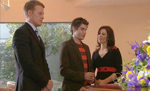 Oliver Barnes, Declan Napier, Rebecca Napier in Neighbours Episode 5382