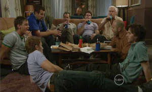 Dan Fitzgerald, Ned Parker, Toadie Rebecchi, Karl Kennedy, Frazer Yeats, Lou Carpenter, Steve Parker, Riley Parker in Neighbours Episode 5399