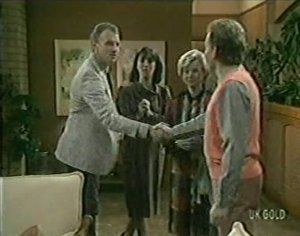 Jim Robinson, Maria Ramsay, Helen Daniels, Richard Morrison in Neighbours Episode 0120