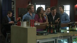 Ringo Brown, Rebecca Napier, Declan Napier, Paul Robinson, Zeke Kinski in Neighbours Episode 5409
