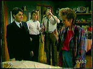 Mark Keating, Shane Ramsay, Des Clarke, Daphne Clarke in Neighbours Episode 0130