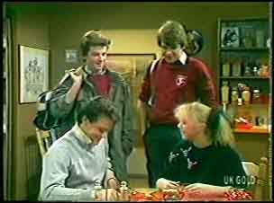 Danny Ramsay, Scott Robinson, Paul Robinson, Terry Inglis in Neighbours Episode 0141