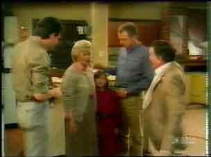 Des Clarke, Helen Daniels, Lucy Robinson, Jim Robinson, Harry Henderson in Neighbours Episode 0167