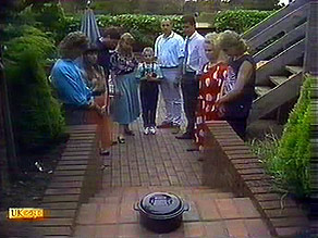 Henry Ramsay, Kerry Bishop, Joe Mangel, Bronwyn Davies, Katie Landers, Jim Robinson, Des Clarke, Sharon Davies, Nick Pag in Neighbours Episode 0895