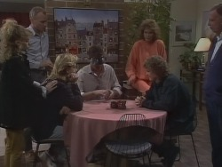 Charlene Mitchell, Jim Robinson, Scott Robinson, Des Clarke, Madge Bishop, Henry Ramsay, Dan Ramsay in Neighbours Episode 0772