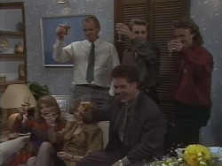 Madge Bishop, Jim Robinson, Gail Robinson, Nick Page, Paul Robinson, Henry Ramsay in Neighbours Episode 1000