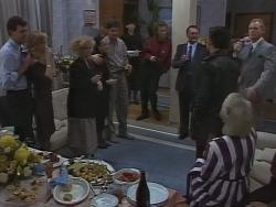 Des Clarke, Jane Harris, Sharon Davies, Kerry Bishop, Joe Mangel, Hilary Robinson, Henry Ramsay, Harold Bishop, Jim Robinson, Helen Daniels in Neighbours Episode 1000