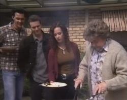 Sam Kratz, Stonie Rebecchi, Cody Willis, Marlene Kratz in Neighbours Episode 2400