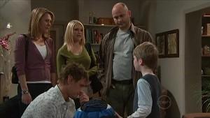 Miranda Parker, Janae Timmins, Steve Parker, Ned Parker, Mickey Gannon in Neighbours Episode 5359