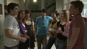 Declan Napier, Rachel Kinski, Bridget Parker, Zeke Kinski, Taylah Jordan, Jessica Wallace, Ringo Brown in Neighbours Episode 5363