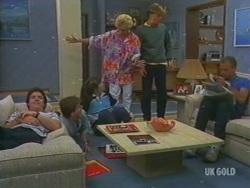 Paul Robinson, Danny Ramsay, Nikki Dennison, Rosemary Daniels, Scott Robinson, Jim Robinson in Neighbours Episode 0195