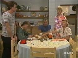 Paul Robinson, Scott Robinson, Jim Robinson, Rosemary Daniels, Helen Daniels in Neighbours Episode 0196