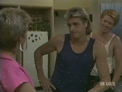 Daphne Clarke, Shane Ramsay, Clive Gibbons in Neighbours Episode 0199
