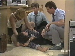 Clive Gibbons, Max Ramsay, Danny Ramsay, Des Clarke in Neighbours Episode 0201