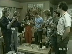 Shane Ramsay, Daphne Lawrence, Zoe Davis, Clive Gibbons, Madge Mitchell, Danny Ramsay, Max Ramsay in Neighbours Episode 0206