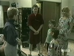 Daphne Clarke, Des Clarke, Bradley Townsend, Lucy Robinson, Andrea Townsend in Neighbours Episode 0206