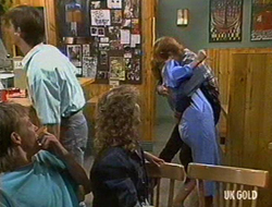 Scott Robinson, Danny Ramsay, Charlene Mitchell, Daphne Clarke, Clive Gibbons in Neighbours Episode 0235