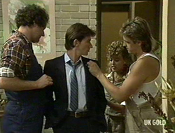 Max Ramsay, Danny Ramsay, Charlene Mitchell, Shane Ramsay in Neighbours Episode 0236
