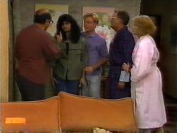 Theo Skouros, Poppy Skouros, Scott Robinson, Harold Bishop, Madge Bishop in Neighbours Episode 0946