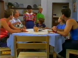Nick Page, Jim Robinson, Hilary Robinson, Helen Daniels, Toby Mangel, Katie Landers, Joe Mangel in Neighbours Episode 0947