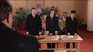 Judge Roy Evans, Toadie Rebecchi, Dylan Timmins, Stingray Timmins in Neighbours Episode 4853