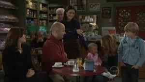 Rebecca Napier, Steve Parker, Lou Carpenter, Carmella Cammeniti, Chloe Cammeniti, Miranda Parker, Mickey Gannon in Neighbours Episode 5575