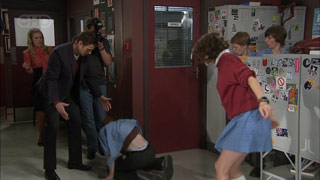 Elle Robinson, Lucas Fitzgerald, Justin Hunter, Bridget Parker, Andrew Simpson in Neighbours Episode 5585
