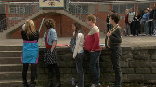 Donna Freedman, Bridget Parker, Rachel Kinski, Ringo Brown, Zeke Kinski in Neighbours Episode 5589