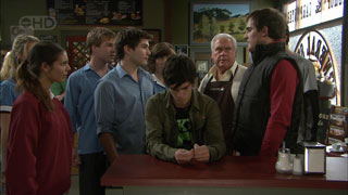 Rachel Kinski, Ringo Brown, Declan Napier, Bridget Parker, Zeke Kinski, Lou Carpenter, Kyle Canning in Neighbours Episode 5594