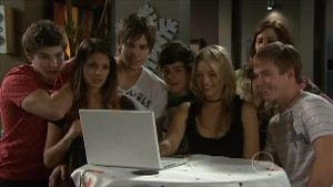 Declan Napier, Rachel Kinski, Ty Harper, Zeke Kinski, Donna Freedman, Rebecca Napier, Ringo Brown in Neighbours Episode 5599