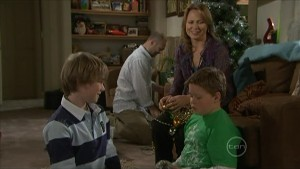 Mickey Gannon, Steve Parker, Miranda Parker, Callum Jones in Neighbours Episode 5600