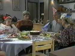 Katie Landers, Beverly Robinson, Jim Robinson, Helen Daniels in Neighbours Episode 0965