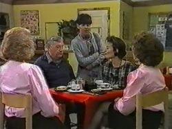 Madge Bishop, Rob Lewis, Hilary Robinson, Gail Robinson, Gloria Lewis in Neighbours Episode 0971