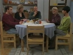 Nick Page, Beverly Marshall, Jim Robinson, Helen Daniels, Hilary Robinson in Neighbours Episode 0982
