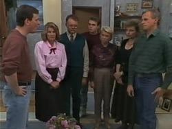 Des Clarke, Madge Bishop, Harold Bishop, Nick Page, Helen Daniels, Beverly Robinson, Jim Robinson in Neighbours Episode 0982