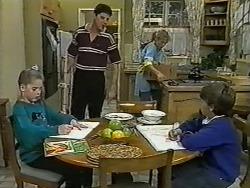 Katie Landers, Joe Mangel, Jane Harris, Toby Mangel in Neighbours Episode 0995