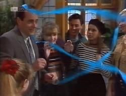Hannah Martin, Philip Martin, Debbie Martin, Rick Alessi, Lucy Robinson, Annalise Hartman in Neighbours Episode 1999