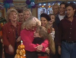Cheryl Stark, Rick Alessi, Annalise Hartman, Helen Daniels, Hannah Martin, Lucy Robinson, Debbie Martin, Brad Willis, Stephen Gottlieb, Wayne Duncan in Neighbours Episode 2000