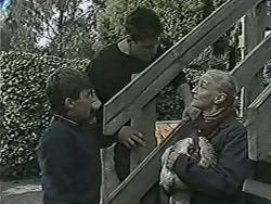 Toby Mangel, Joe Mangel, Mary Crombie in Neighbours Episode 1030
