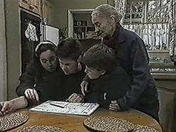 Kerry Bishop, Joe Mangel, Toby Mangel, Mary Crombie in Neighbours Episode 1030